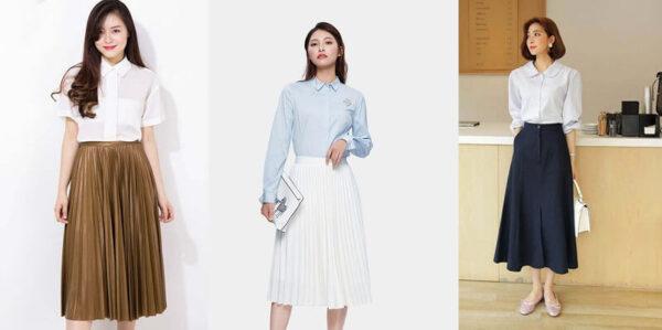Phong cách 13: Phối áo kiểu cùng chân váy midi