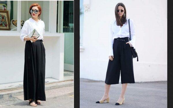 Phong cách 15: Phối áo kiểu với quần culottes