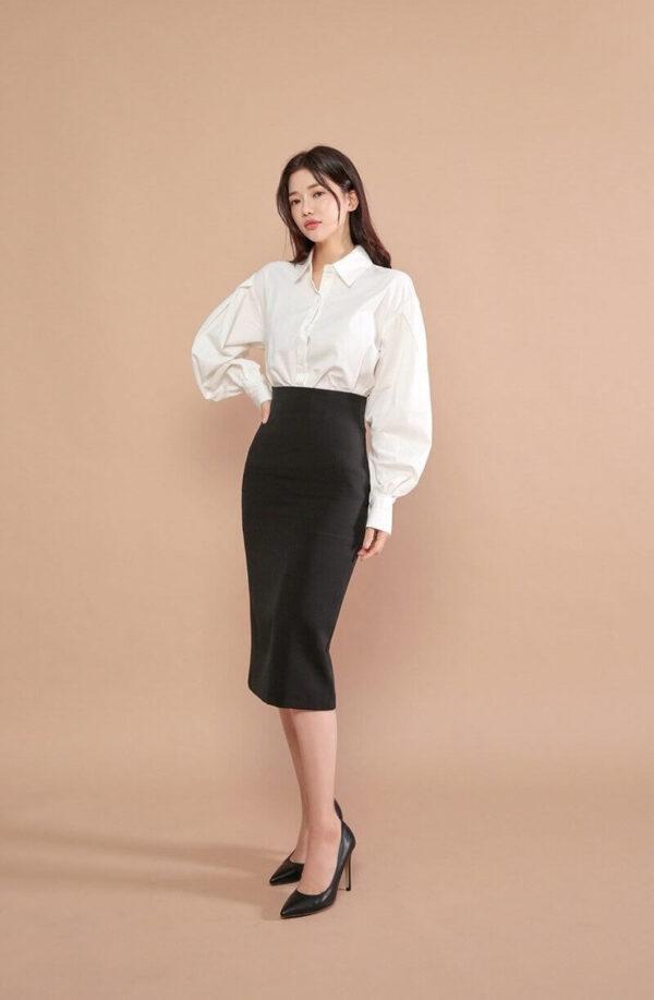 Phong cách 18: Thanh lịch với áo sơ mi phối chân váy bút chì