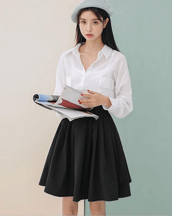 Phong cách 3: Chân váy xòe và sơ mi - set đồ hoàn hảo dành cho các nàng công sở hiện đại