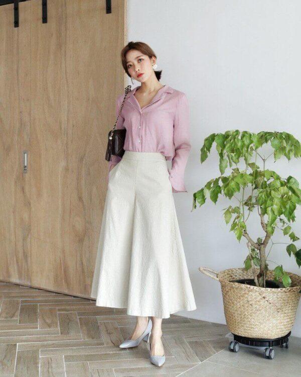 Phong cách 9: Áo sơ mi kết hợp quần culottes