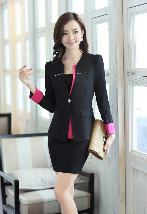 Đồng phục đầm kết hợp vest công sở cho giáo viên