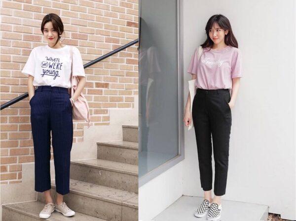 Áo thun kết hợp cùng quần tây/ jeans